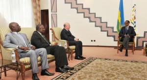 President Kagame meeting AU and IN envoys at his office in Kigali, Rwanda on Thursday