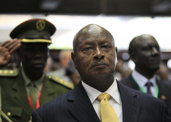 Uganda's President Yoweri Museveni arrives to attend the Africa Union Peace and Security Council Summit on Terrorism at the Kenyatta International Convention Centre in Nairobi, September 2, 2014. Credit: Reuters/Noor Khamis