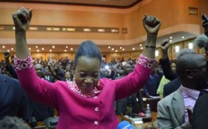 The mayor of Bangui, Catherine Samba-Panza, celebrates after being elected interim president of the Central African Republic