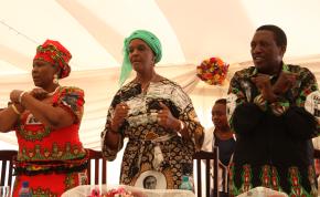 Photo: Justin Mutenda/The Herald From left, Opah Muchinguri, Grace Mugabe and Absolom Sikhosana.