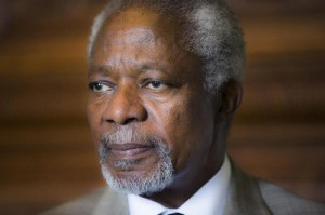 Former UN secretary general Kofi Annan attends a peace mediator conference at Loerenskog, Norway on June 18, 2014 (AFP Photo/Berit Roald)
