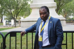 Elie Smith poses for a picture while doing coverage for the US-Africa Leaders Summit