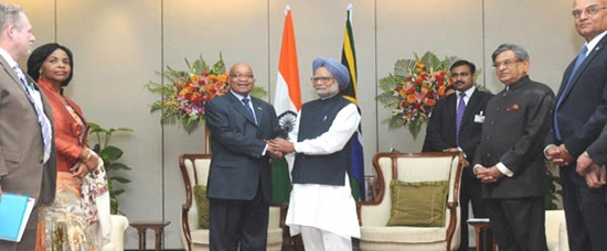 Former Prime Minister of India Dr Manmohan Singh with South African President Jacob Zuma during a visit
