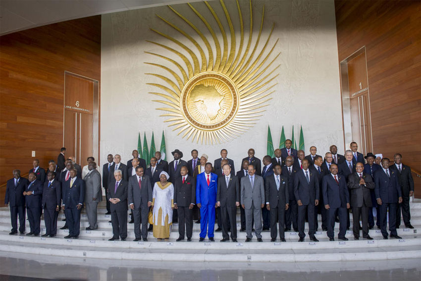 Secretary-General Ban Ki-moon poses for a group photo with leaders attending the African Union Summit, which marks the 50th anniversary of the founding of the Organization of African Unity. UN Photo/Eskinder Debebe
