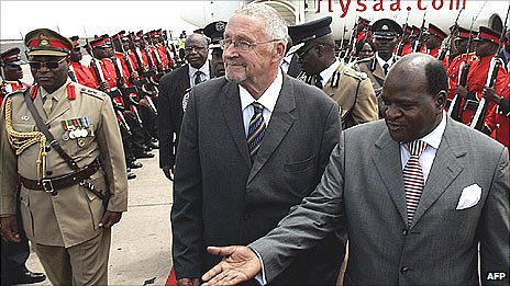 Zambian Vice President Guy Scott with Henry Chimunthu Banda, Malawi's Speaker of Parliament in a 2011 picture