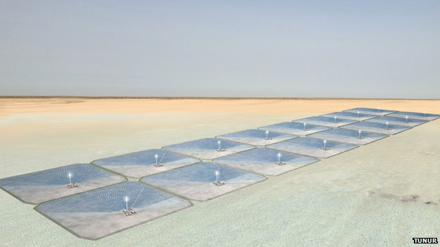 An impression of what a large-scale concentrated solar power facility might look like in the Tunisian desert