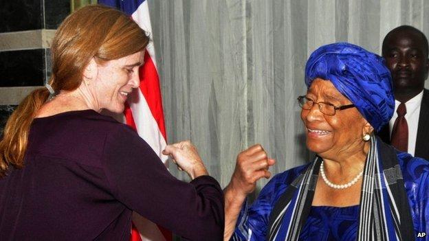 "Samantha Power and Ellen Johnson Sirleaf practised an ""Ebola handshake"""