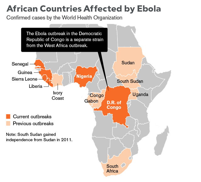 African Counries Affected by Ebola