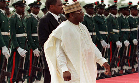 General Sani Abacha in 1998. After he died, his wife was caught trying to leave the country with 38 suitcases stuffed with cash. Photograph: Reuters