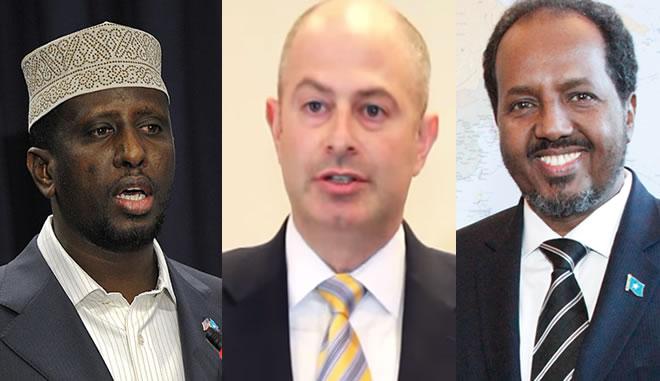 Former Somali President Sharif Sh. Ahmed, Jeremy Schulman of Shulman Rogers Law Firm & President Hassan Sheikh