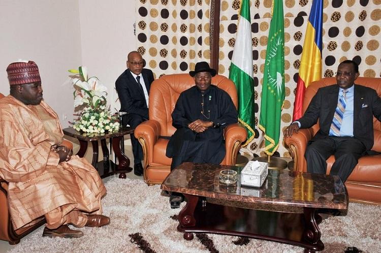 From left to right: Alleged Boko Haram sponsor Ali Modu Sheriff, President Goodluck Jonathan and President Idris Derby