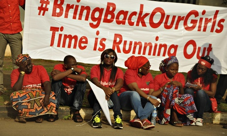 Members of the Abuja Bring Back Our Girls group during a protest march to commemorate six months since the abduction of the 219 Chibok schoolgirls. Photograph: Afolabi Sotunde/REUTERS
