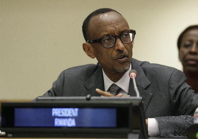Rwandan President Paul Kagame addresses a High-level Summit on Strengthening International Peace Operations during the 69th session of the United Nations General Assembly at United Nations headquarters on September 26, 2014 (AFP Photo/Andrew Gombert)