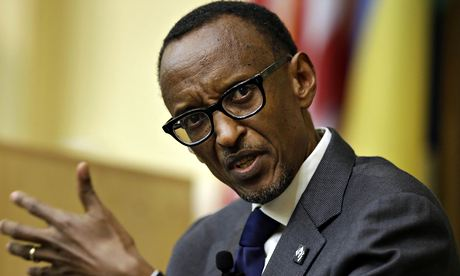 Paul Kagame speaks at Tufts University near Boston. Photograph: Steven Senne/AP