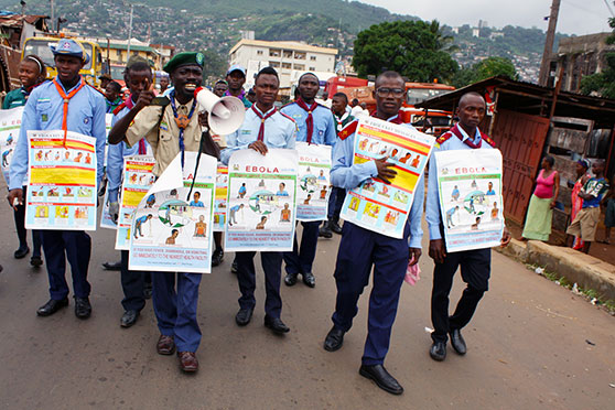 A social mobilisation team spread information on Ebola in Freetown, Sierra Leone