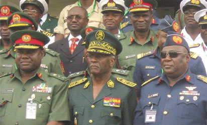 FROM LEFT: CHIEF OF ARMY STAFF, LT.-GEN. KENNETH MINIMA; CAMEROONIAN CHIEF OF DEFENCE STAFF, LT.-GEN. CLAUDE RENE AND CHIEF OF DEFENCE STAFF, AIR CHIEF MARSHAL, ALEX BADEH, AT THE NIGERIA/CAMEROON BILATERAL CONFERENCE ON TRANS-BORDER OPERATIONS IN ABUJA ON WEDNESDAY (15/10/14) -
