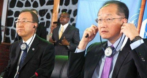 United Nations secretary-general, Ban Ki-moon (L) and the World Bank Group president, Jim Yong Kim (R). Photo©Reuters