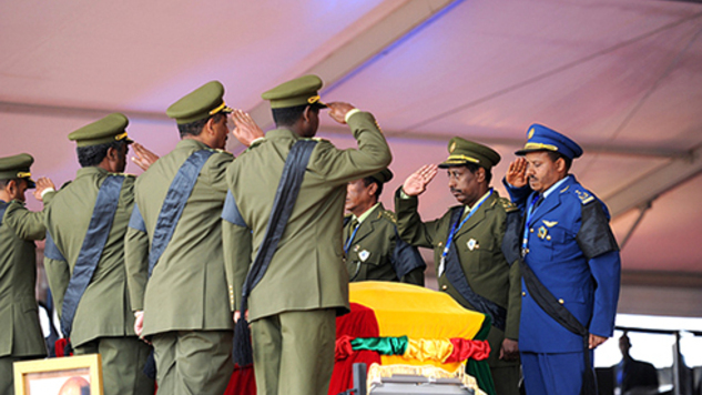 Soldiers salute coffin with the body of Ethiopia's Meles Zenawi who died in 2012.There are some curious coincidences in the passage of African leaders.Photo PK/Flickr