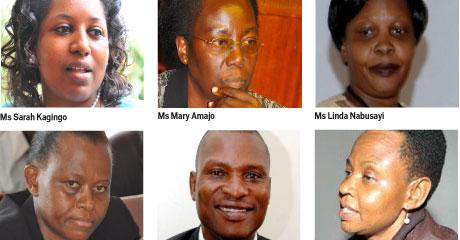 Ms Sarah Kagingo, Ms Mary Amajo, Ms Linda Nabusayi, Ms Lucy Nakyobe, Mr Tamale Mirundi and Maj Edith Nakalema