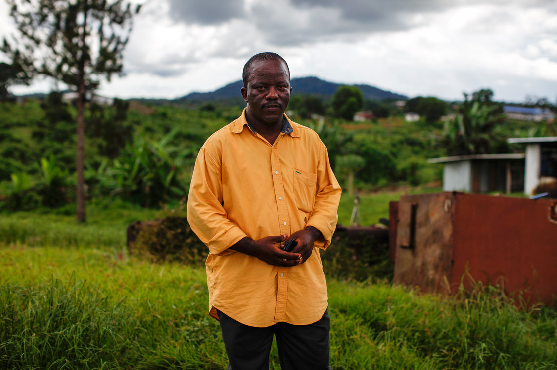 Dr. Gabriel Logan is one of two doctors at the Bomi county hospital, which serves a county of 85,000 people. In a desperate attempt to save Ebola patients, he started experimenting with an HIV drug to treat them. John W. Poole/NPR