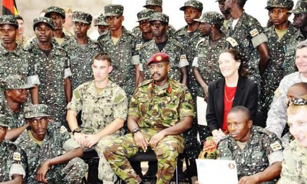 SFC Commander, Brig Muhoozi Kainerugaba with some of the commandos passed out recently to take on Al Shabaab in Somalia