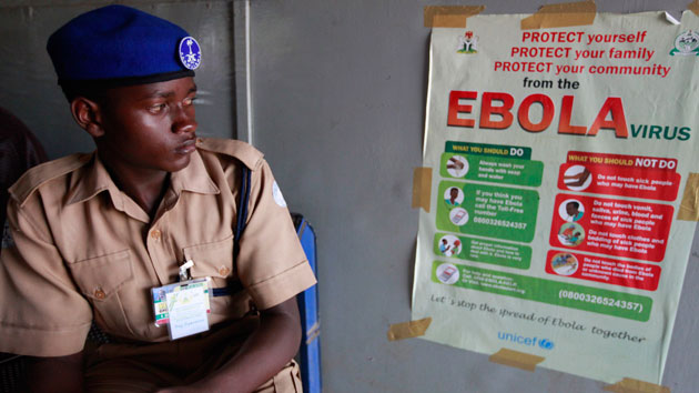 An Ebola warning at the Murtala Muhammed International Airport in Lagos Sunday Alamba/AP