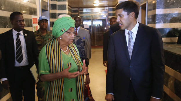 American USAID chief Rajiv Shah  with Liberian President Ellen Johnson