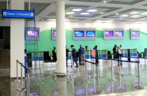 Check-in counters at the newly-refurbished departure section of Kigali International Airport. (J. Mbanda)