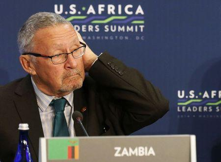 Zambia's Vice President Guy Scott (L) listens as U.S. President Barack Obama (not pictured) speaks, at the first Leaders' Session of the U.S.-Africa Leaders Summit, at the State Department in Washington, in this August 6, 2014 file picture. REUTERS/Larry Downing/Files