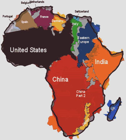 "Source: Kai Krause, ""The True Size of Africa"""