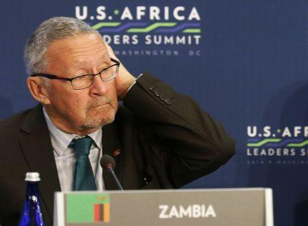 Zambia's Vice President Guy Scott listens as U.S. President Barack Obama speaks at the first Leaders' Session of the U.S.-Africa Leaders Summit at the State Department in Washington in this August 6, 2014 file photo. REUTERS/Larry Downing/Files