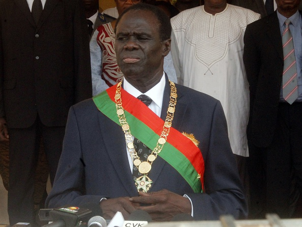 "Veteran diplomat Michel Kafando attends on November 18, 2014 his swearing-in ceremony in Ouagadougou as Burkina Faso's interim president to oversee a one-year transition back to civilian rule in the west African country. Kafando, appointed in the wake of violent protests that brought down President Blaise Compaore and led to a brief army power grab, pledged he would not let the country become a ""banana republic"". He is poised to formally take over on September 20 from an interim military ruler. AFP PHOTO / STRINGER (Photo credit should read -/AFP/Getty Images)"
