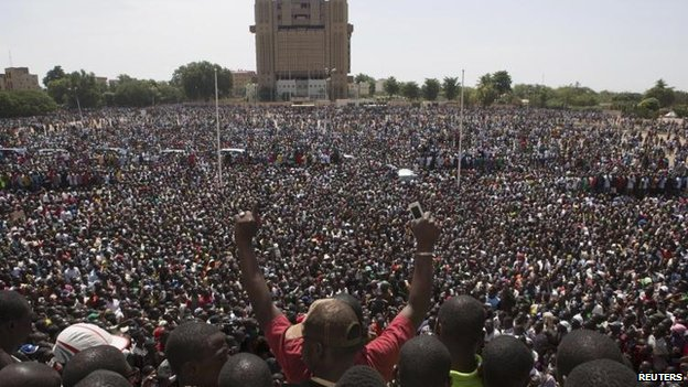 Tens of thousands of people celebrated Mr Compaore's fall