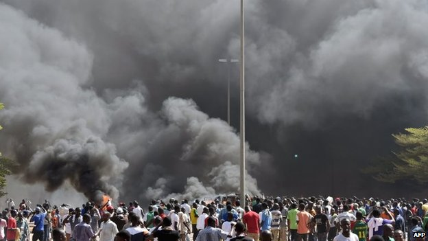 On Thursday, demonstrators set Burkina Faso's parliament on fire