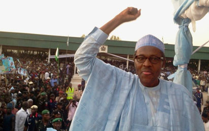 BUHARI DECLARES: General Muhammadu Buhari (rtd) declaring his intention to seek the All Progressives Congress, APC, nomination to contest next year's presidential election yesterday. -