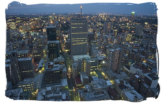 View of Johannesburg CBD at dusk - City of Johannesburg South Africa