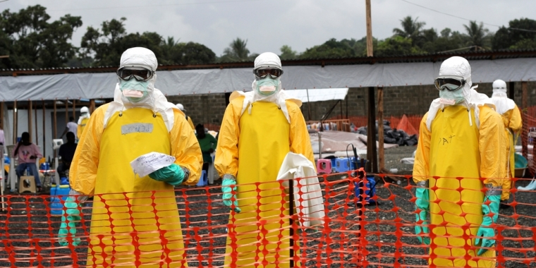 Staff members at ELWA 3, MSF's Ebola management center in Monrovia.