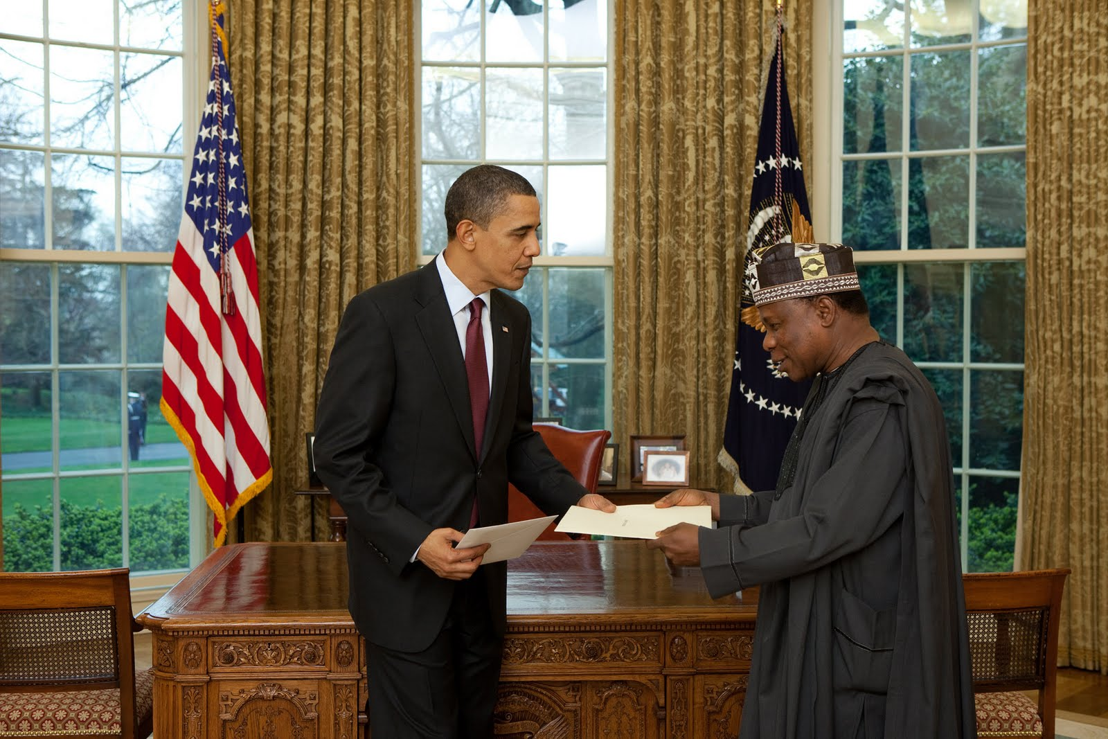 Nigeria's Ambassador to the United States Prof. Adefuye with U.S President Barack Obama