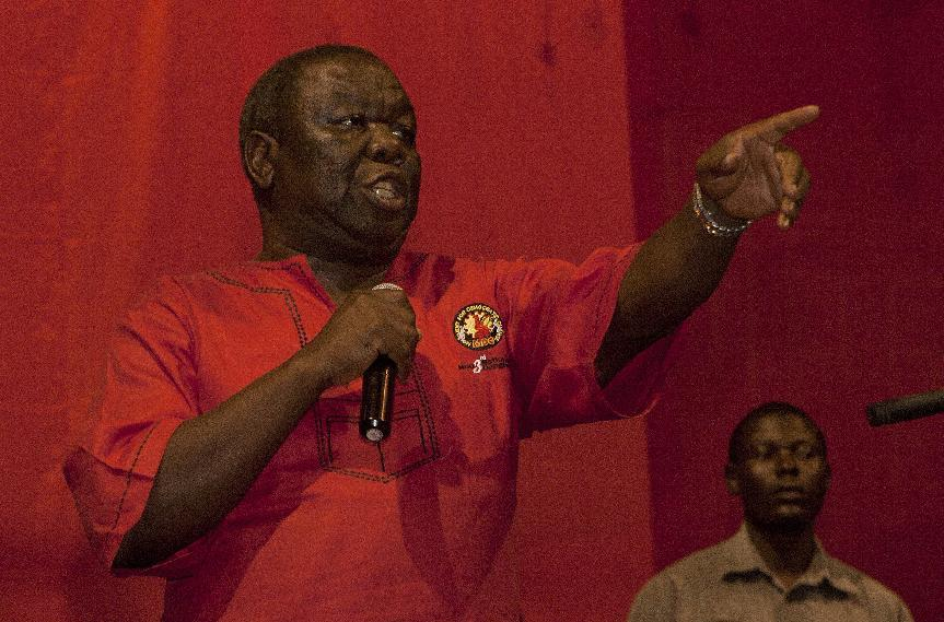 Morgan Tsvangirai, the newly elected president for the Movement for Democratic Change, speaks during the party's elective congress on November 1, 2014 in Harare, Zimbabwe (AFP Photo/Jekesai Njikizana)