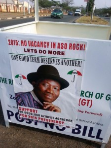 A poster promoting Nigerian President Goodluck Jonathan's 2015 re-election on display in Abuja (AFP Photo/Ola Awoniyi)