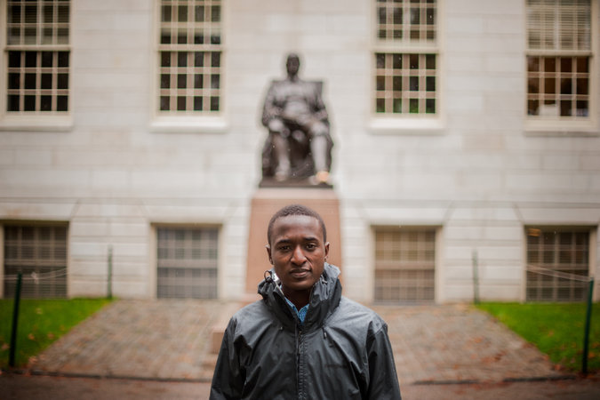 Justus Uwayesu, rescued at 9 from the streets of Rwanda, is enrolled as a freshman at Harvard. Credit Ian Thomas Jansen-Lonnquist for The New York Times