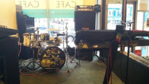 Band Equipment at Bukom Cafe. The life band on weekends is a crowd puller. Photo by Ajong Mbapndah L