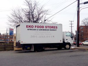 A label growing in confidence:Eko Food Stores in Hyattsville ,MD, has its own distribution trucks.