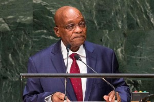 Jacob Zuma speaks at the UN General Assembly on September 24, 2014 in New York City (AFP Photo/Andrew Burton)