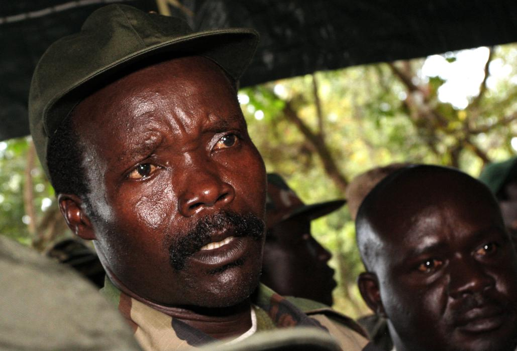 In this Nov. 12, 2006 file photo, the leader of the Lord's Resistance Army, Joseph Kony answers journalists' questions following a meeting with UN humanitarian chief Jan Egeland at Ri-Kwamba in southern Sudan. (AP Photo/Stuart Price, Pool, File)
