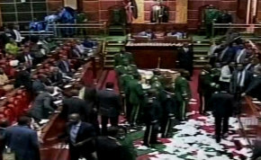 Photo: Capital FM/Screenshot Chaos has erupted in Kenya's parliament as the opposition protests against the passing of the Anti-Terror Law.
