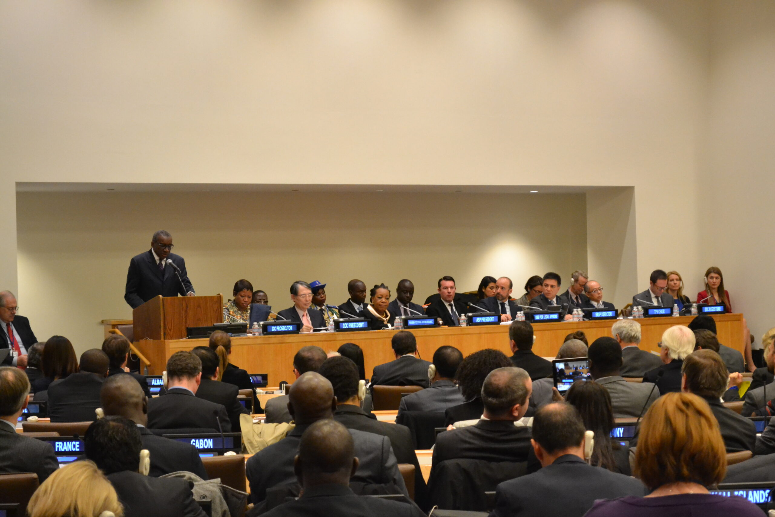 ASP President Sidiki Kaba speaks during the 13th Session of the Assembly of States Parties in New York. ©2014 CICC/Gabriella Chamberland
