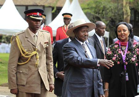 President Yoweri Museveni (C) of Uganda arrives at the 8th Northern Corridor Integration Projects Summit at Safari Park Hotel, in Nairobi December 11, 2014. REUTERS/Noor Khamis