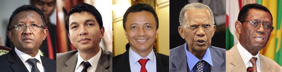 from left) Hery Rajaonarimampianina, Andry Rajoelina, Marc Ravalomanana, Didier Ratsiraka and Albert Zafy (AFP Photo/Stephane de Sakutin, Rijasolo, Bilal Tarabey, Gregoire Pourtier)