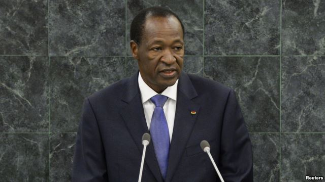 FILE - Blaise Compaore addresses the U.N. General Assembly as Burkina Faso's president, Sept. 25, 2013.